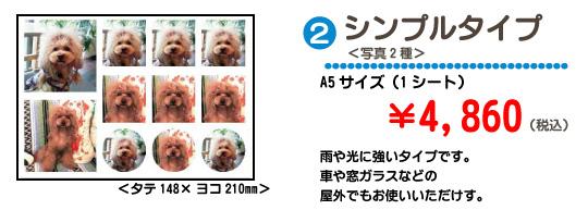 シンプルタイプ<写真2種>A5サイズ(1シート)¥4,860 雨や光に強いタイプです。車や窓ガラスなどの<br>屋外でもお使いいただけす。