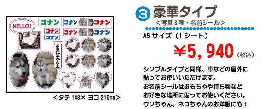 豪華タイプ<写真3種・名前シール>A5サイズ(1シート)¥5,940 シンプルタイプと同様、車などの屋外に貼ってお使いいただけます。お名前シールはおもちゃや持ち物などお好きな場所に貼ってお使いください。ワンちゃん、ネコちゃんのお洋服にも!